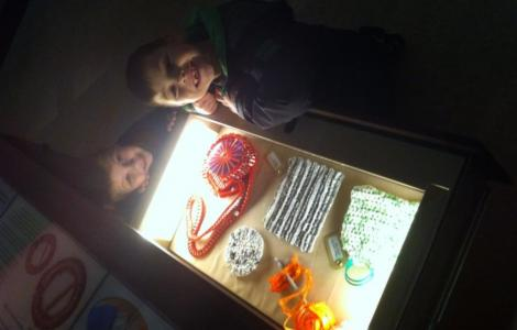 Here's my children enjoying the tactile drawer