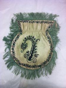 Victorian drawstring purse hand embroidered